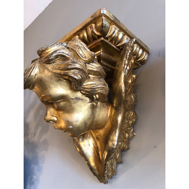 19th Century Italian Baroque Style Gilt Wood Wall Brackets - a Pair For Sale In Minneapolis - Image 6 of 13