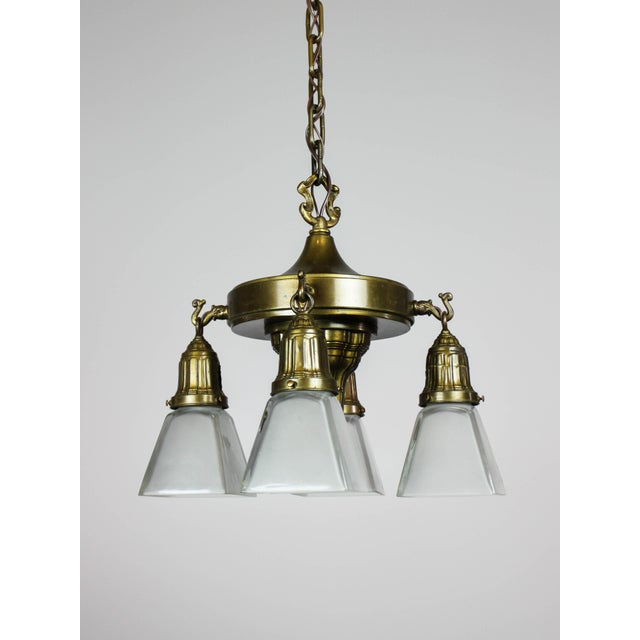 Charming example of a compact Sheffield pan light fixture by prolific American manufacturer, Mitchell Vance & Company....