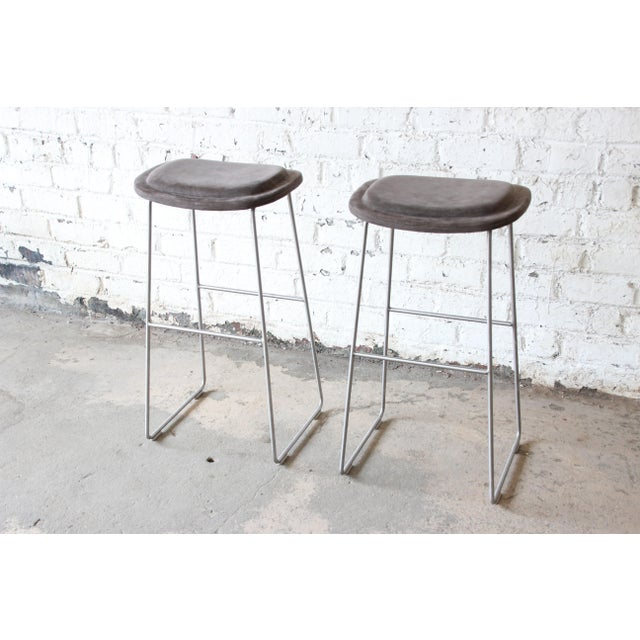Italian Bar Stools by Cappellini, a Pair For Sale - Image 9 of 9