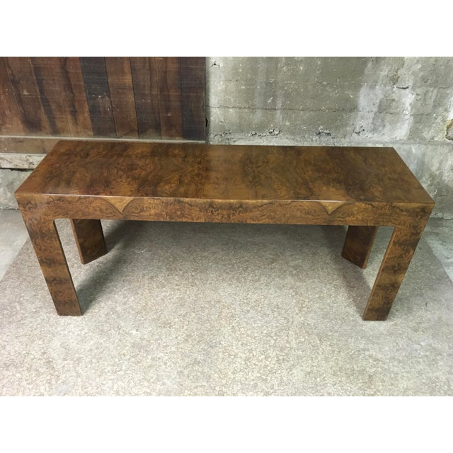 Incredible burlwood console by either Dunbar or Mastercraft. No tag or markings, but extremely high quality and high-gloss...