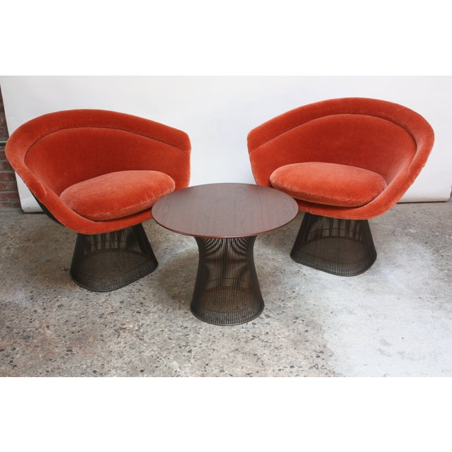 Mid-Century Modern Pair of Warren Platner for Knoll Bronze and Mohair Lounge Chairs With Side Table For Sale - Image 3 of 13