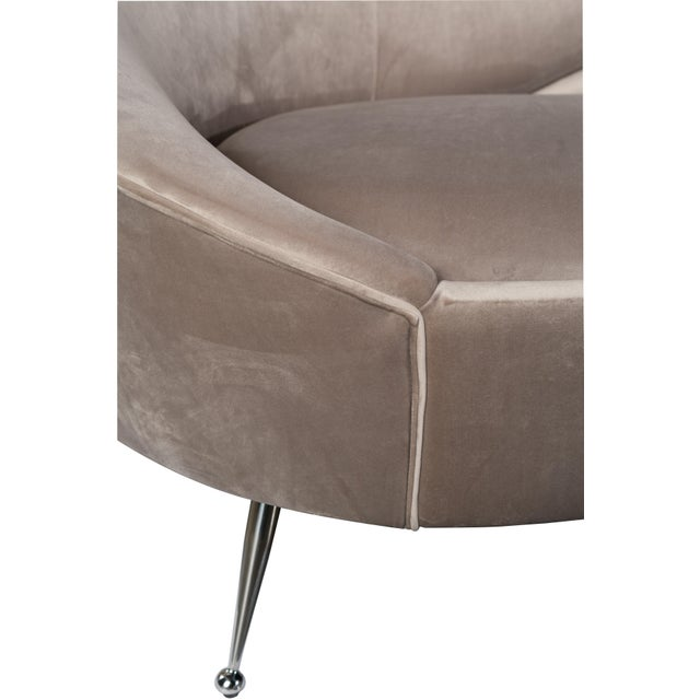 Contemporary Wing Curved Sofa in Gray For Sale - Image 3 of 5