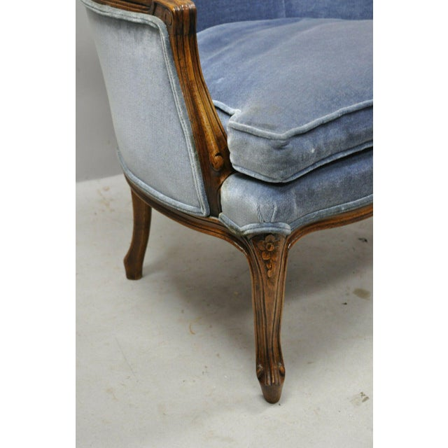Vintage French Louis XV Provincial Blue Bergere Lounge Arm Chairs - a Pair For Sale - Image 11 of 13