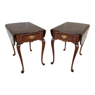 Hitchcock Solid Cherry Clover Top Drop Leaf End Tables - a Pair For Sale