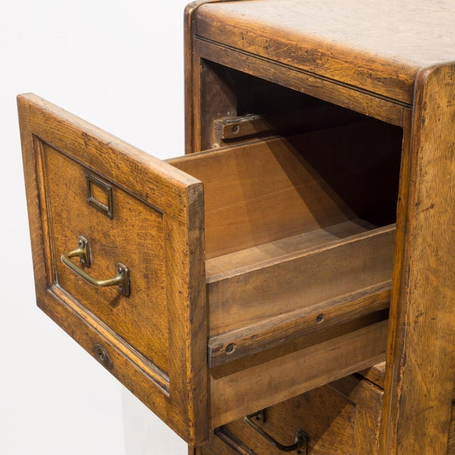 Metal 4 Drawer Oak File Cabinet C.1930 For Sale - Image 7 of 11