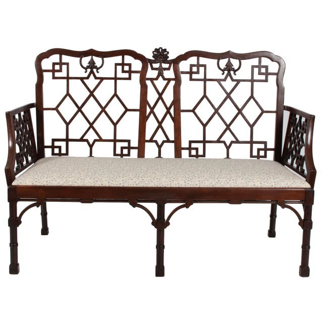 English Chinese Chippendale Mahogany Settee For Sale - Image 9 of 9