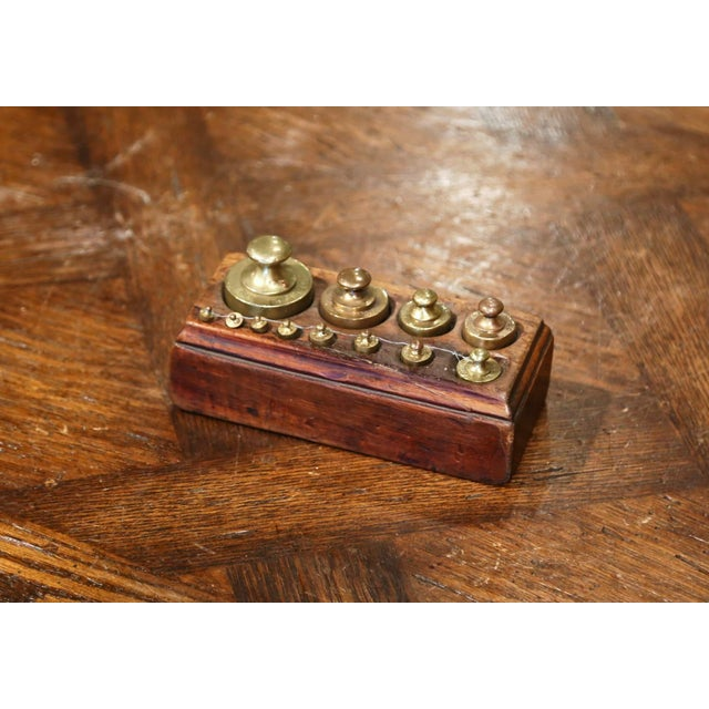 19th Century French Napoleon III Walnut and Brass Scale With Set of Weights For Sale - Image 10 of 12