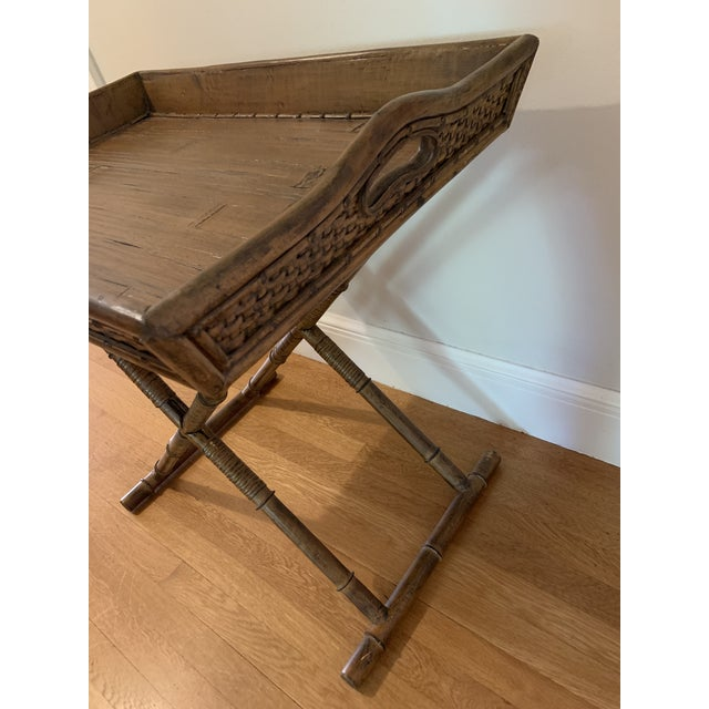 1960s Mid Century Faux Bamboo and Rattan Folding Tray Table For Sale - Image 10 of 12