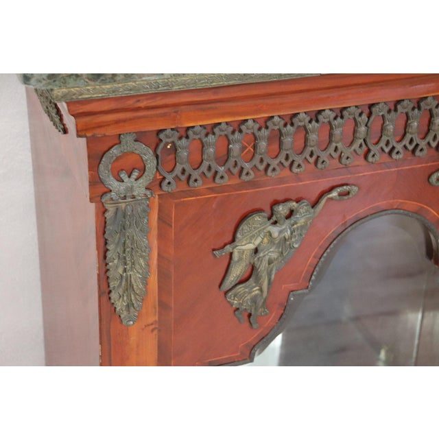 19th Century French Napoleon III Walnut Cabinet or Vetrine With Green Marble Top For Sale - Image 4 of 12
