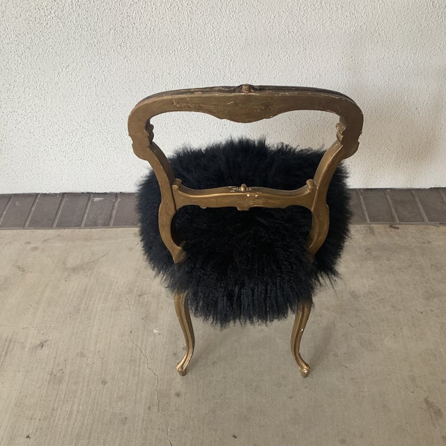 Black 1920s Vintage Gilded Chair For Sale - Image 8 of 13
