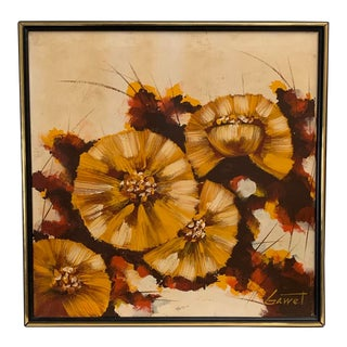 1970s Abstract Flowers Oil Painting Signed Gawet For Sale