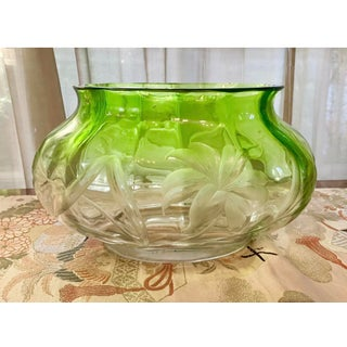 "Vintage Green Art Nouveau Moser Crystal Deep Engraved 12"" Console Bowl/ Wine Cooler Preview"