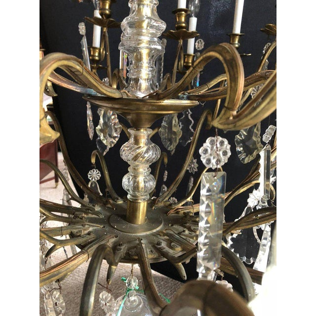 Mid 20th Century Bronze and Crystal Palatial Thirty-Light Chandelier For Sale - Image 5 of 13