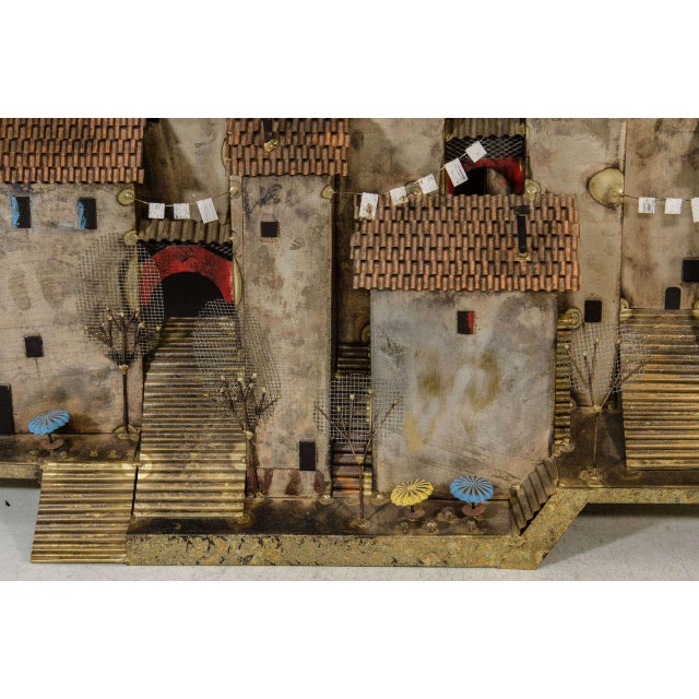 Curtis Jere AMAZING COLORFUL WALL- MOUNTED MEDITERRANEAN VILLAGE SCULPTURE BY CURTIS JERE For Sale - Image 4 of 5