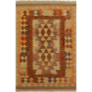 Seraphin Brown/Orange Hand-Woven Kilim Wool Rug -3'3 X 4'8