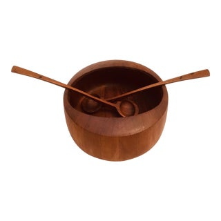 1960s Mid-Century Modern Danish Teak Wood Salad Bowl and Utensils Set of 3 For Sale