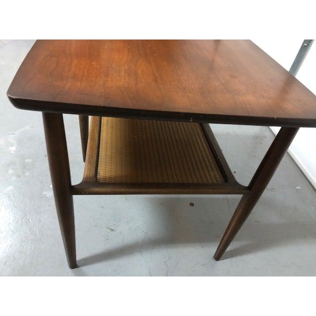 1960s Mid Century Walnut Wicker Shelf Side Table For Sale - Image 5 of 6