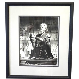 "Signed Photo of Charlton Heston in a Frame Photo Circa 1956 From ""The Ten Commandments"" Feature Film For Sale"