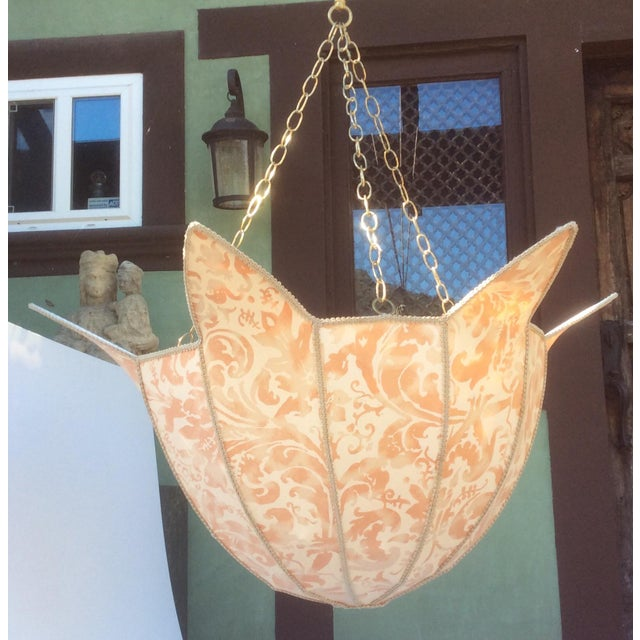 Large Fortuny Fabric Hanging Light Shade For Sale - Image 4 of 5