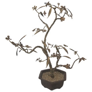 Bronze Bonsai Cherry Blossom Tree Sculpture, Signed For Sale