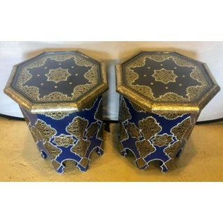 Moroccan Silver Metal Brass Inlaid Side Tables - a Pair Preview