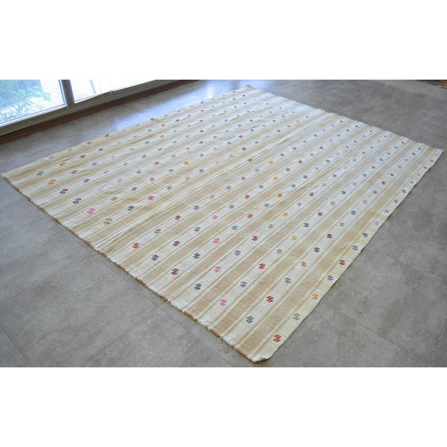 """Vintage Anatolian Braided Rug Hand Woven Cotton Small Rug Sofreh - 6'8"""" X 8'6"""" For Sale In Raleigh - Image 6 of 11"""