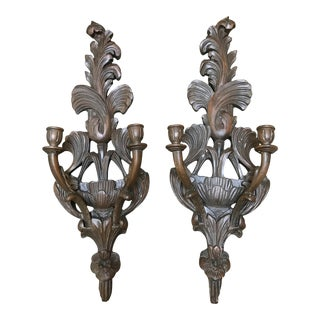 Hand Carved Vintage Wooden Candle Wall Sconces - a Pair For Sale