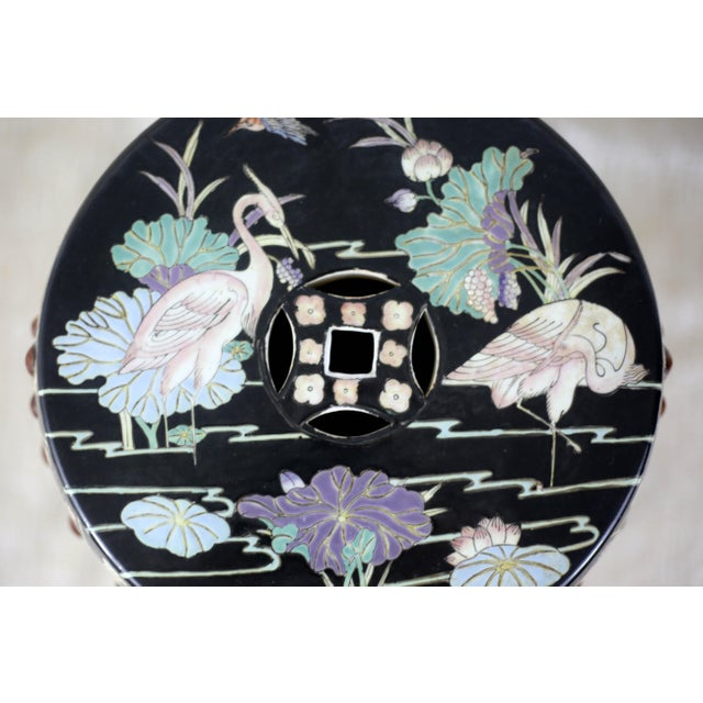 Vintage Black Garden Stool With Cranes and Lotuses For Sale - Image 4 of 12