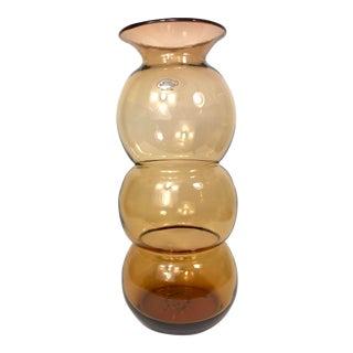 21st Century Amber Blenko Hand Blown Glass Vase For Sale