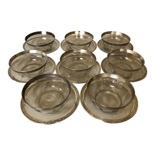 1930's Silver Resist Bowls and Saucers - Set of 18 For Sale