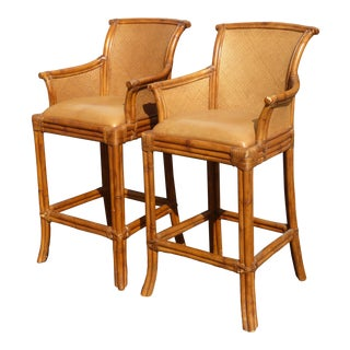 Pair Vintage Tiki Palm Beach Style Rattan & Brown Leather Bar Stools For Sale