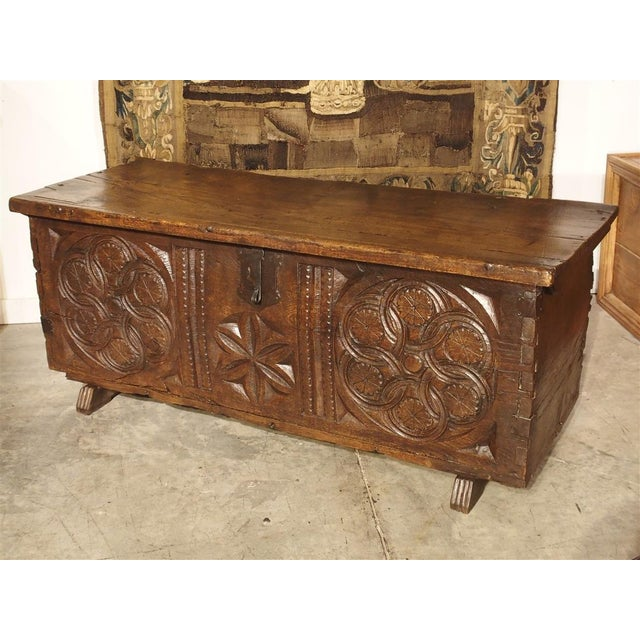 Large Carved Oak Plank Trunk From the Basque Country, Circa 1650 For Sale In Dallas - Image 6 of 13