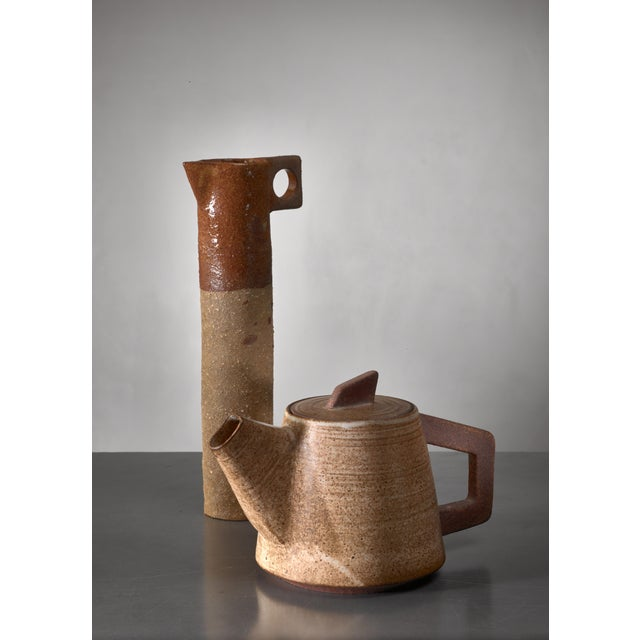 Mid-Century Modern Ceramic Pitcher and (Tea) Pot, France, 1960s For Sale - Image 3 of 4
