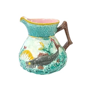 Antique Sea Life Majolica Pitcher For Sale