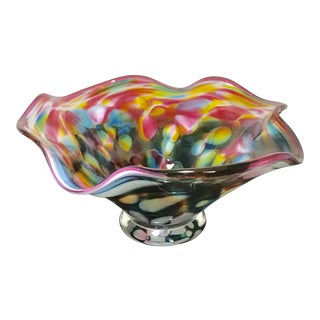 Large Glass Studio Candy Dish in Vivid Colors - Signed Cindy McQuade 2001 For Sale