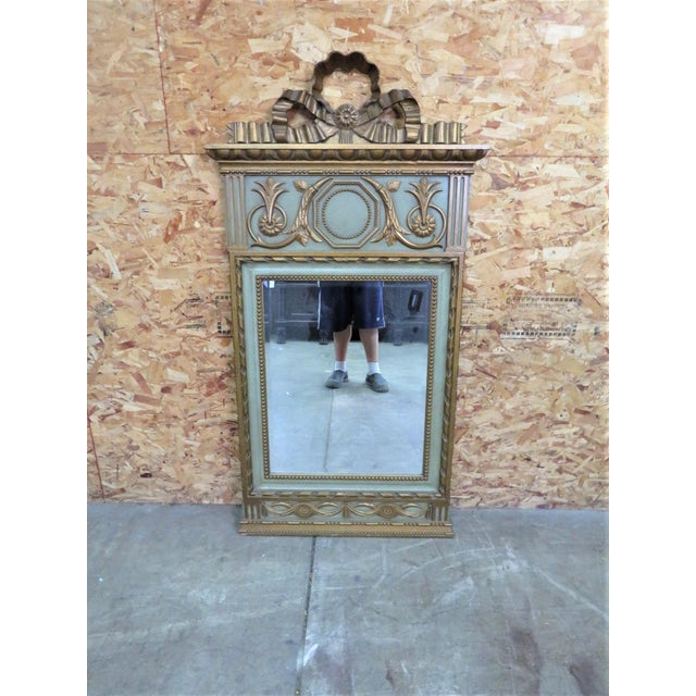 Italian Style Carved Green & Gold Mirror For Sale - Image 5 of 5