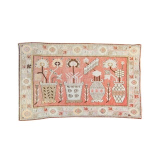 House of Séance - 1920s Vintage Pictorial Khotan Samarkand Floral Vases Wool Hand-Knotted Rug - 4′4″ × 7′2″ For Sale