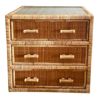 Vintage Boho Chic Woven Rattan Chest of Drawers For Sale