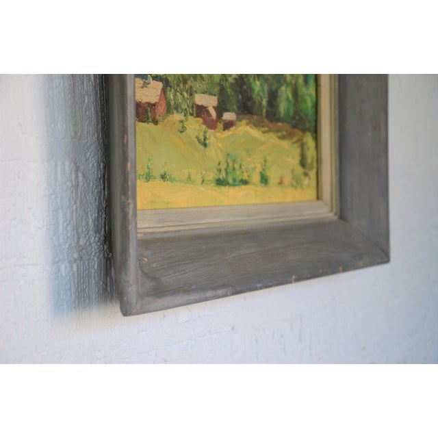 Framed Mountain Farm Landscape Painting For Sale - Image 4 of 7