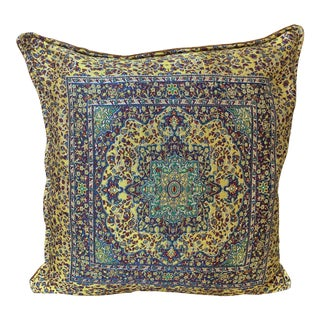 Turkic Ceramic Patterned Pillow Cover - 17ʺW × 17ʺH For Sale
