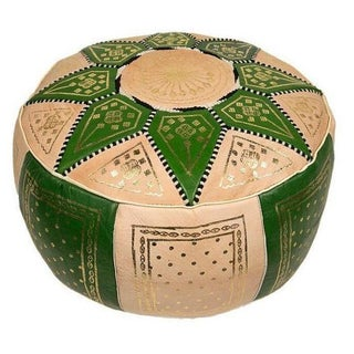 Fes Lime Green Leather Pouf For Sale