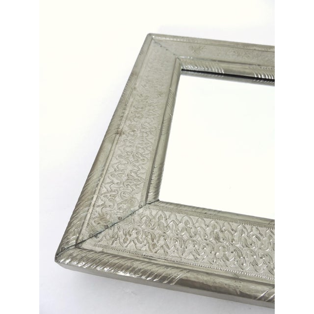 Anglo-Indian Vintage Indian Hammered Silver Rectangular Patterned Wall Mirror For Sale - Image 3 of 6