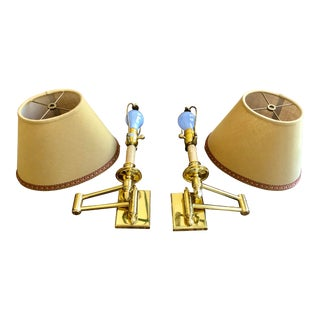 Phoenix Day Polished Brass Swing Arm Sconces - a Pair For Sale