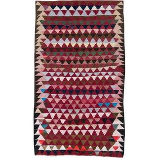 "Vintage Persian Flatweave Kilim Rug – Size: 5' 7"" X 9' 5"" For Sale"