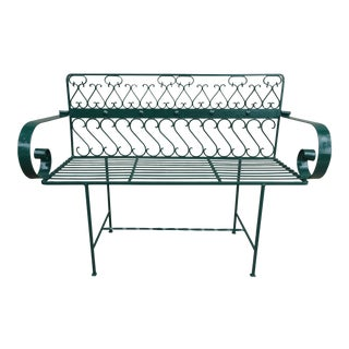 Mid-Century Arthur Umanoff Wrought Iron Bench For Sale
