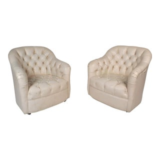 Pair of Vintage Modern Tufted Vinyl Lounge Chairs For Sale