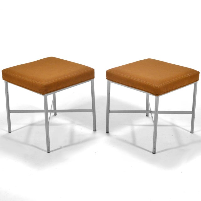 Shelby Williams Paul McCobb Style Ultrasuede Stools- a Pair - Image 7 of 7