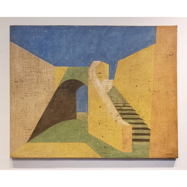 Tan De Chirico Style Painting of Adobe Steps by Jacques Lamy For Sale - Image 8 of 8