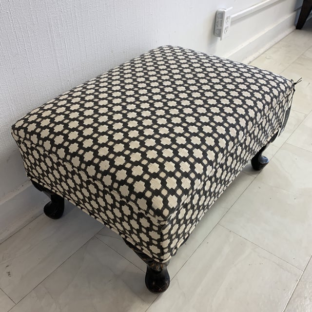 Schumacher Betwixt Vintage Foot Stool For Sale - Image 9 of 13