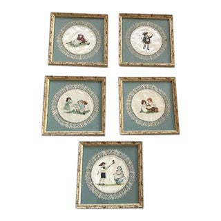 Framed Antique Painted Silks - Set of 5 For Sale